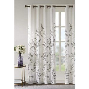 50Wx84L window curtain white gray sheer burnout